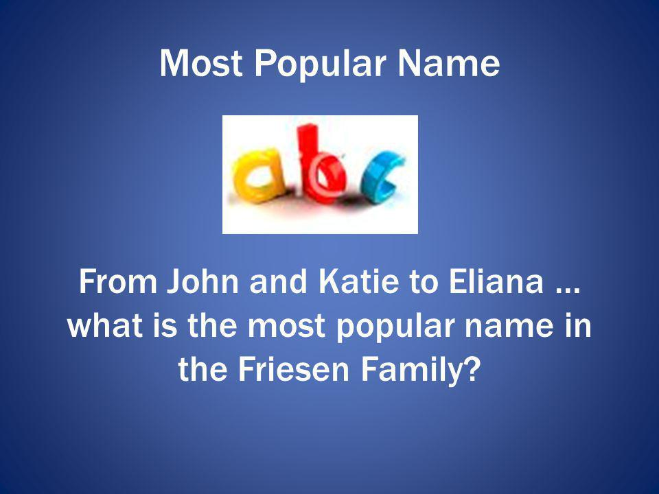 Most Popular Name From John and Katie to Eliana … what is the most popular name in the Friesen Family