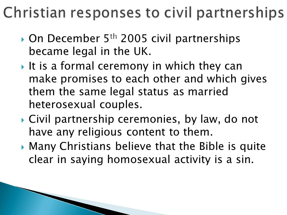 Christian responses to civil partnerships