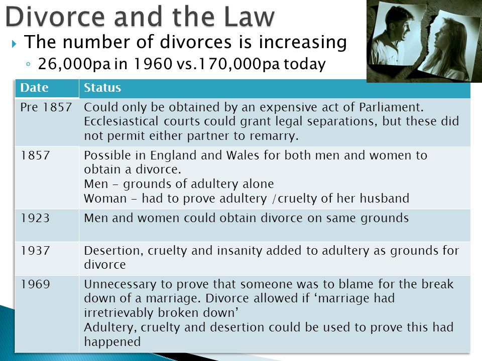 Divorce and the Law The number of divorces is increasing