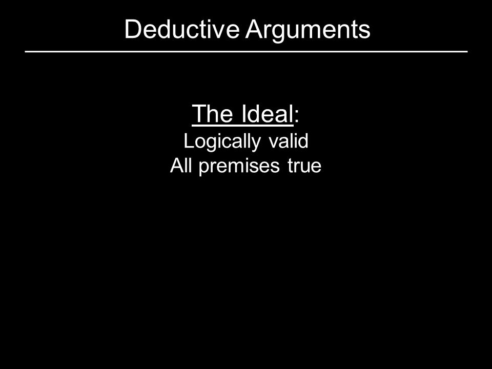 Deductive Arguments The Ideal: Logically valid All premises true