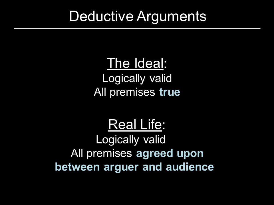 Deductive Arguments The Ideal: Real Life: Logically valid