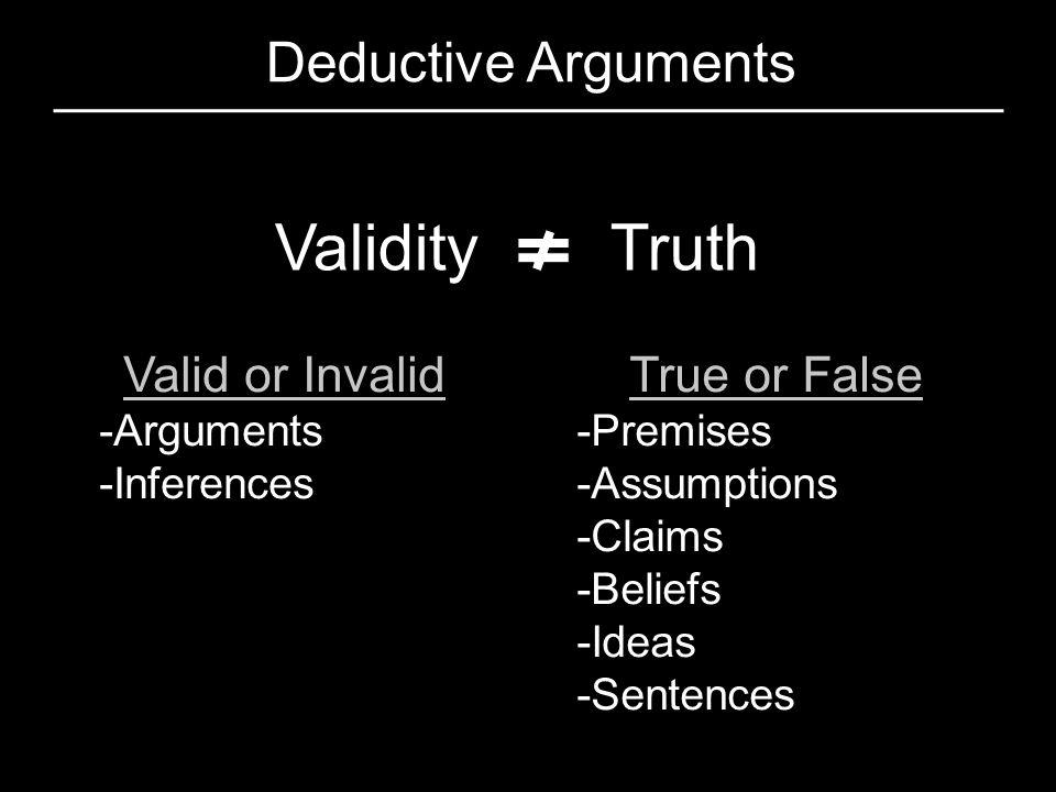 Validity Truth Deductive Arguments Valid or Invalid True or False
