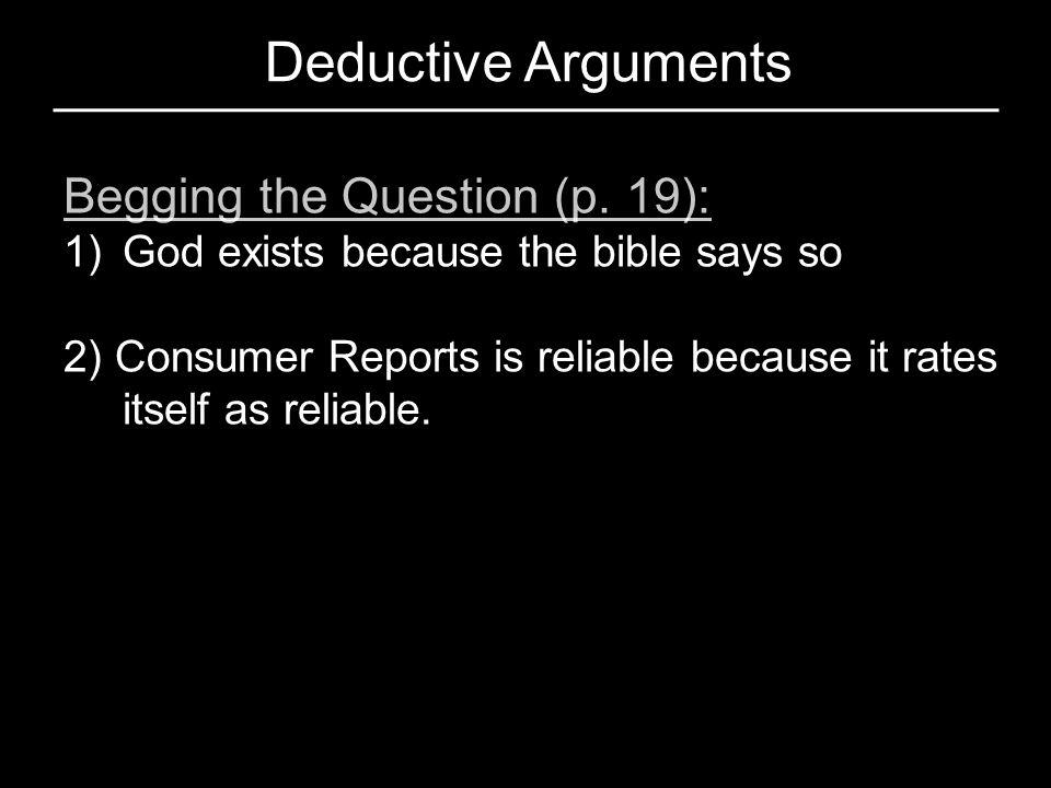 Deductive Arguments Begging the Question (p. 19):