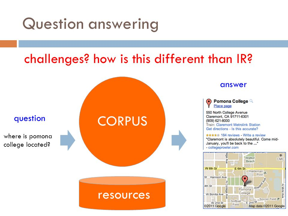 Question answering challenges how is this different than IR CORPUS