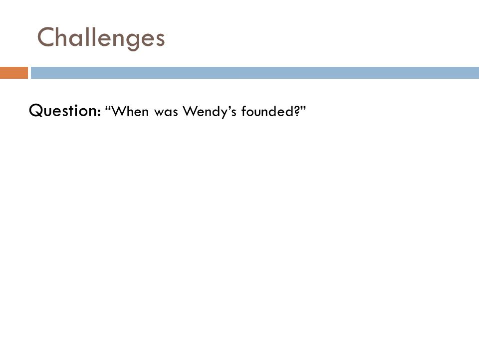 Challenges Question: When was Wendy's founded