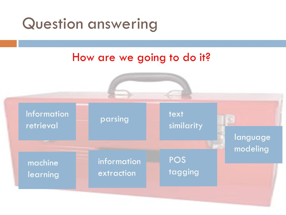 Question answering How are we going to do it Information retrieval