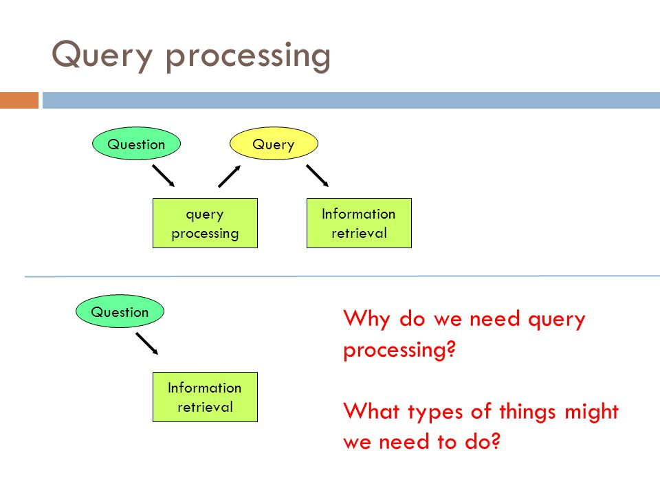 Query processing Why do we need query processing