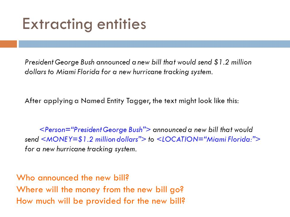 Extracting entities Who announced the new bill