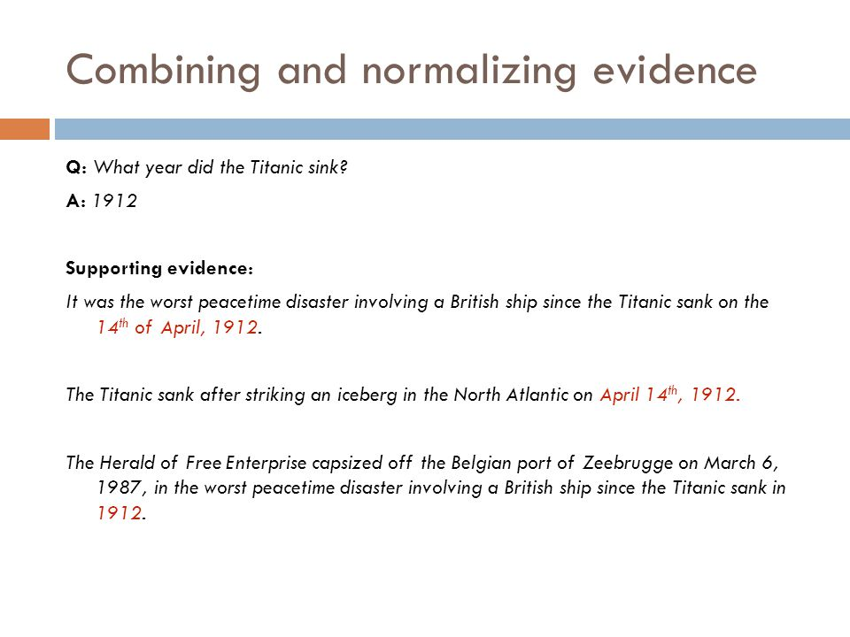 Combining and normalizing evidence
