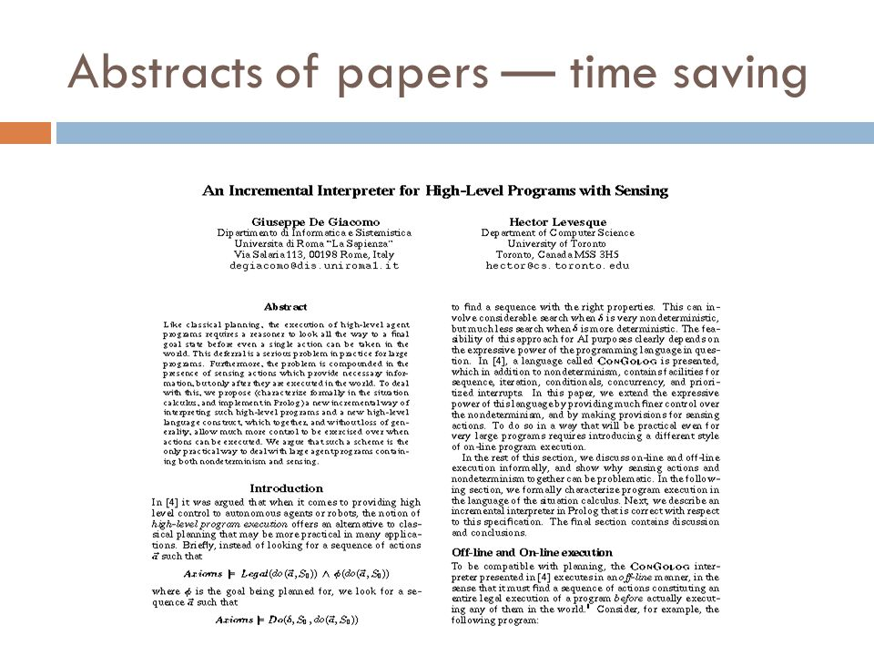Abstracts of papers — time saving