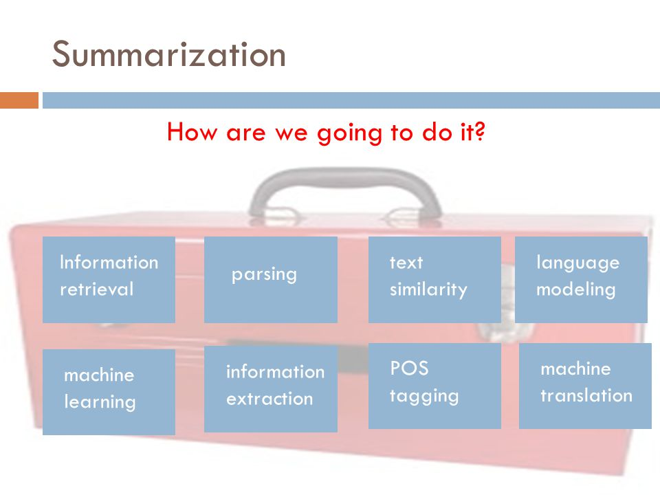 Summarization How are we going to do it Information retrieval