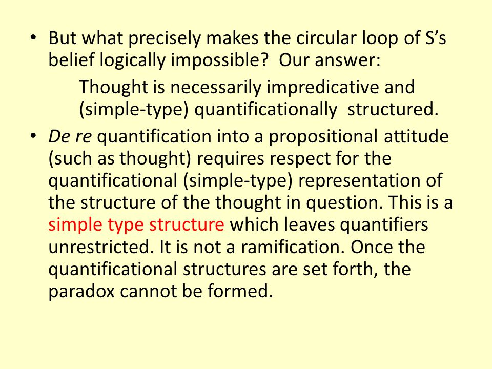 But what precisely makes the circular loop of S's belief logically impossible Our answer: