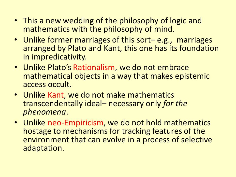 This a new wedding of the philosophy of logic and mathematics with the philosophy of mind.