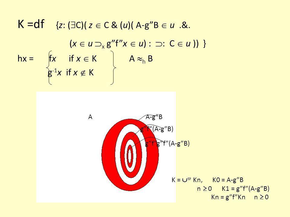 K =df {z: (C)( z  C & (u)( A-g B  u .&.