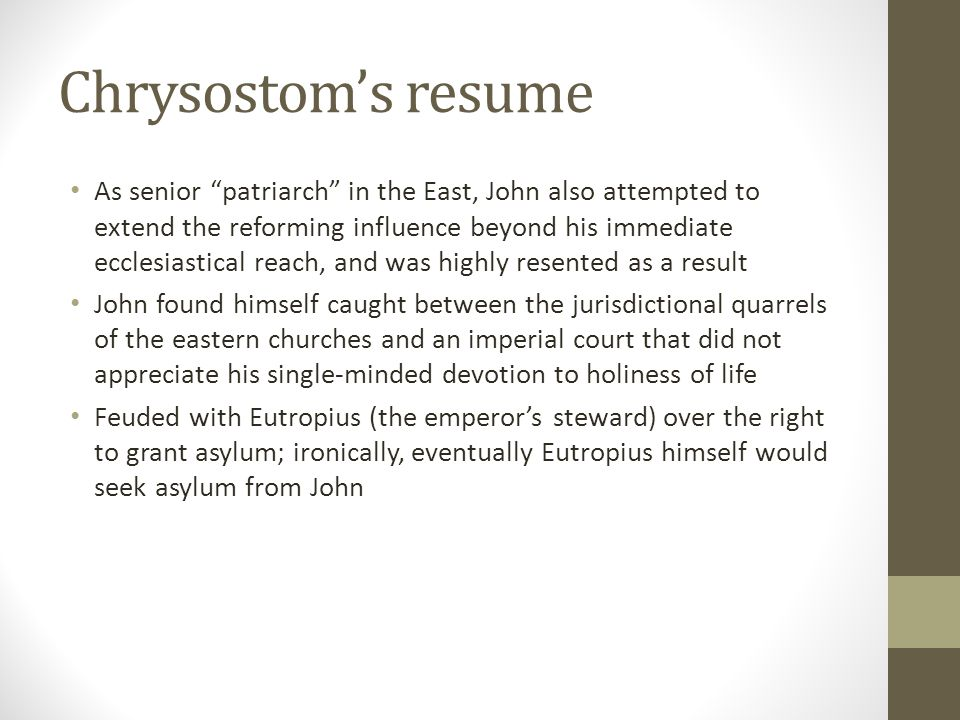 Chrysostom's resume