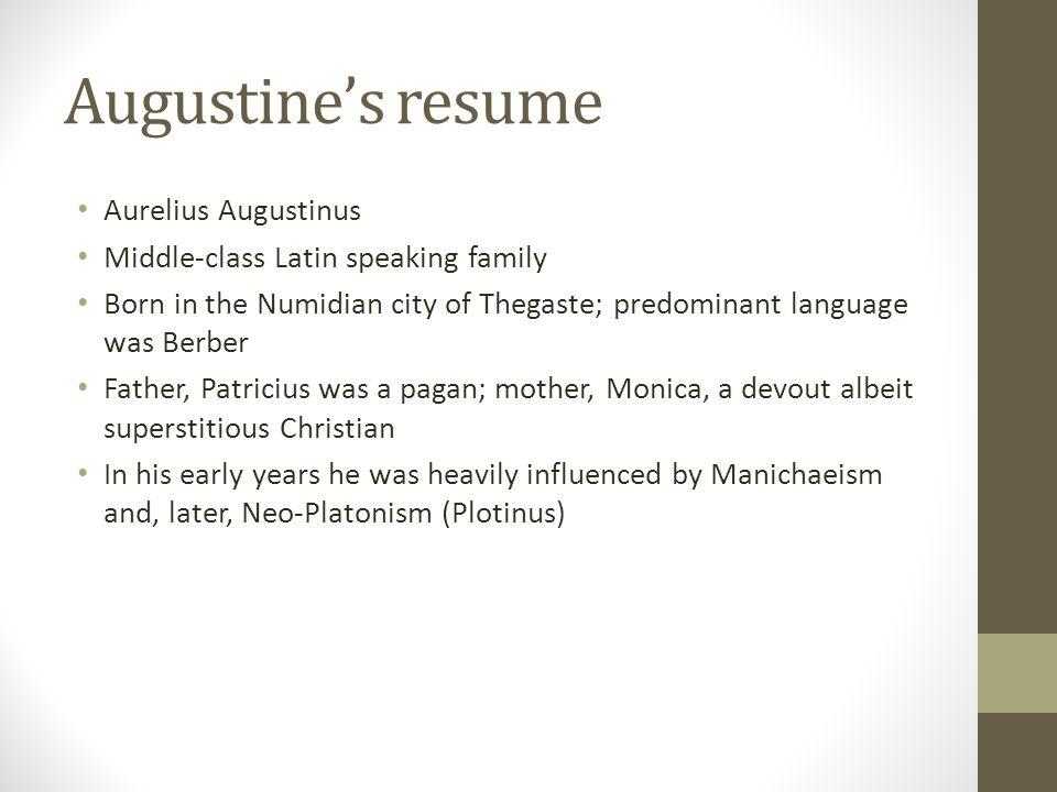 Augustine's resume Aurelius Augustinus