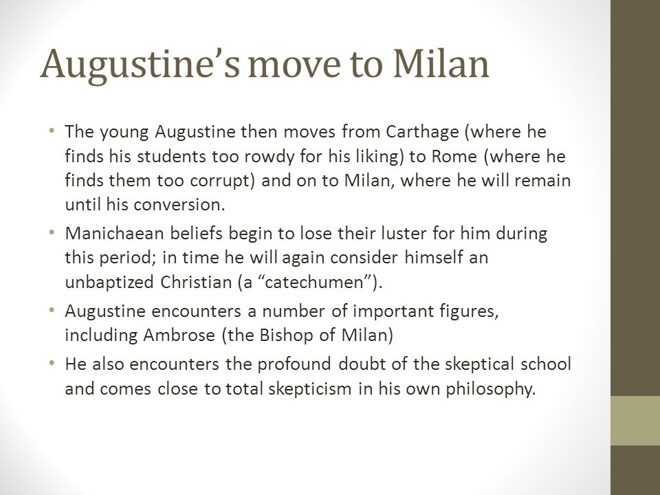 Augustine's move to Milan