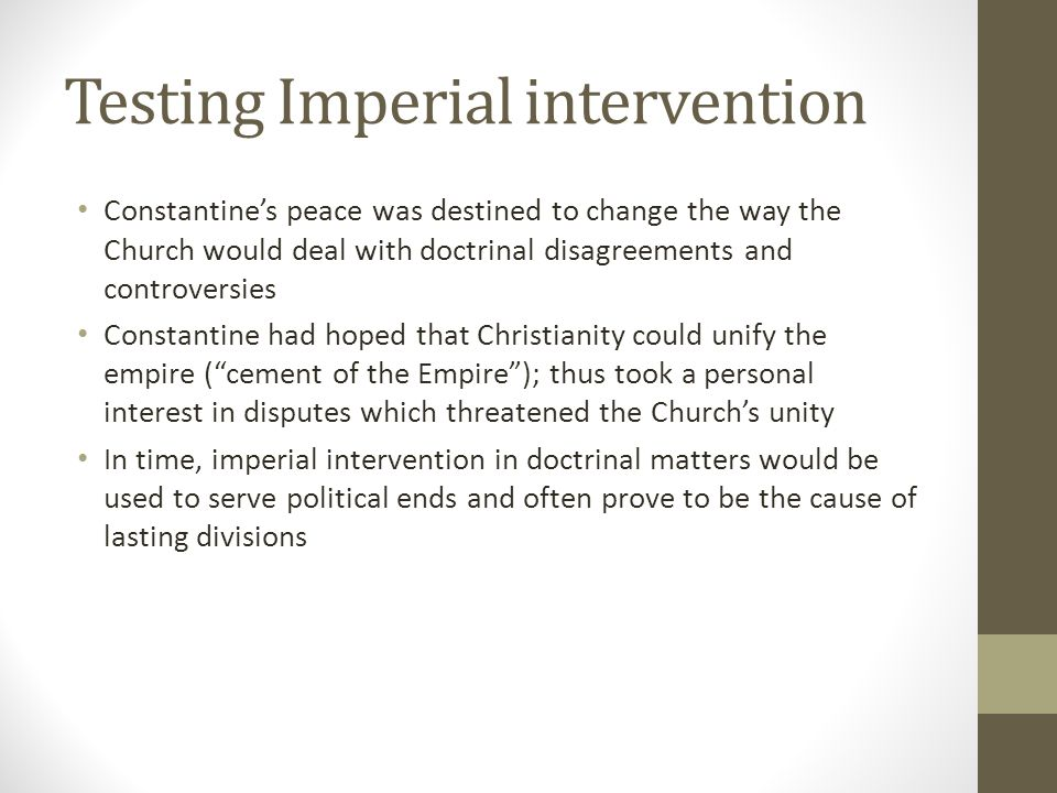 Testing Imperial intervention