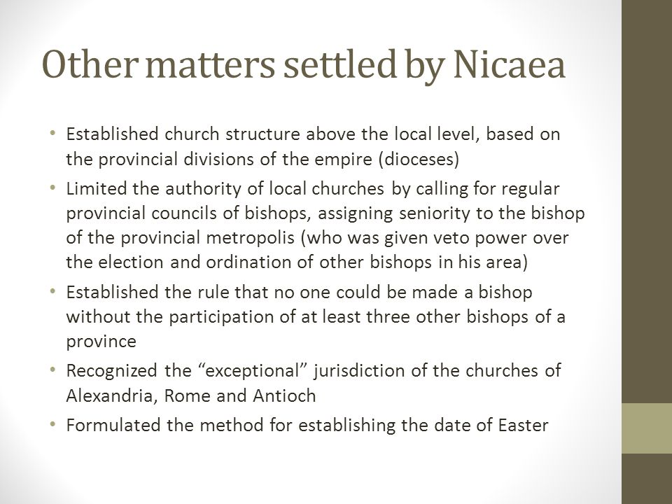 Other matters settled by Nicaea
