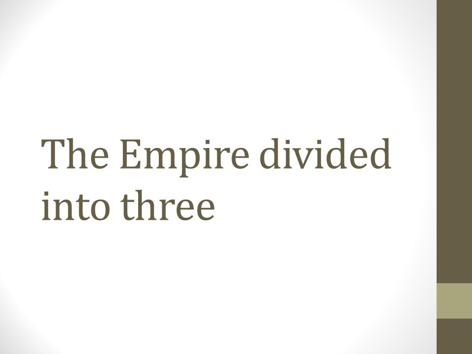 The Empire divided into three