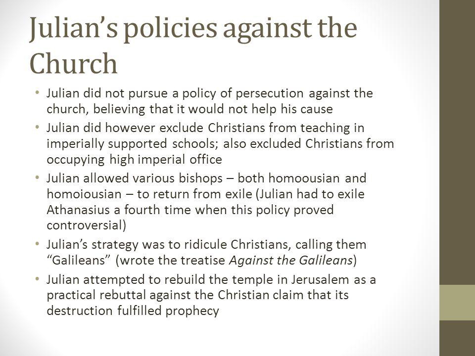 Julian's policies against the Church