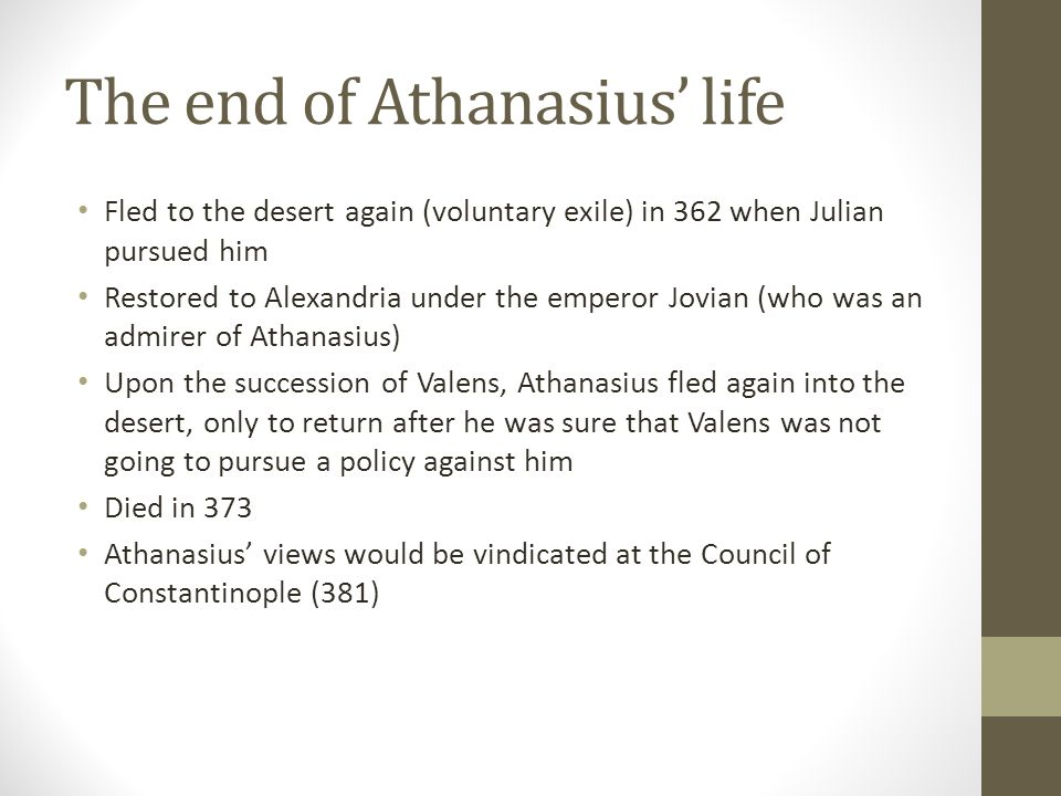 The end of Athanasius' life