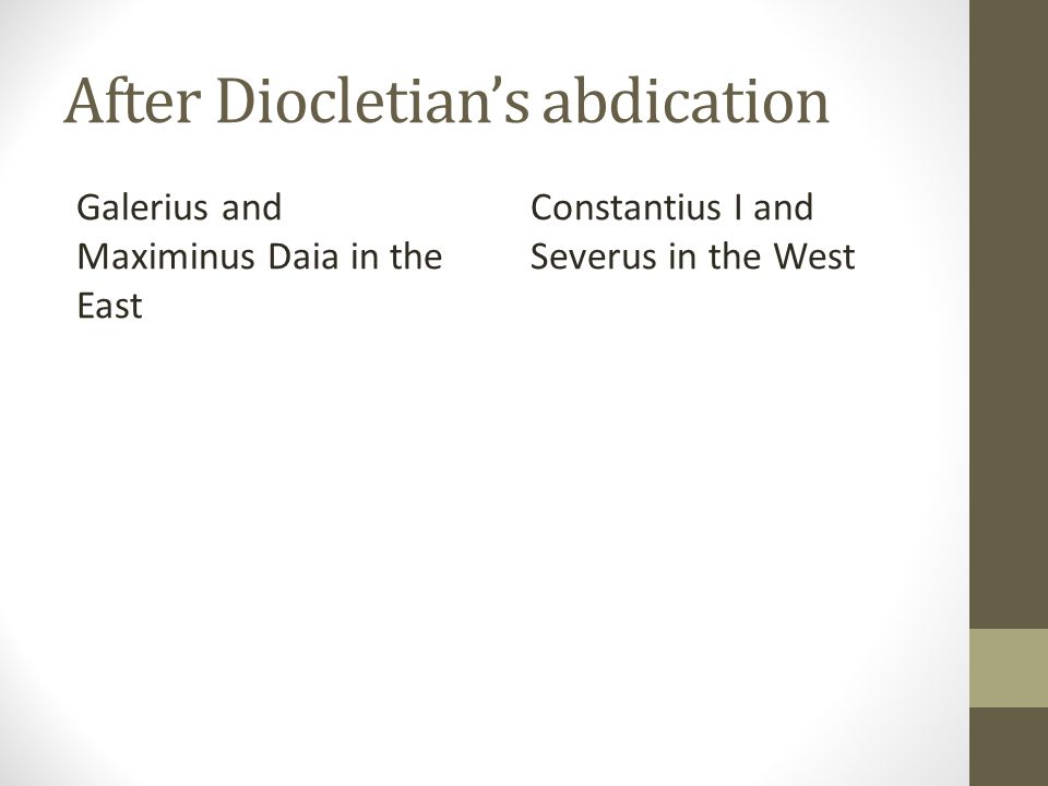 After Diocletian's abdication