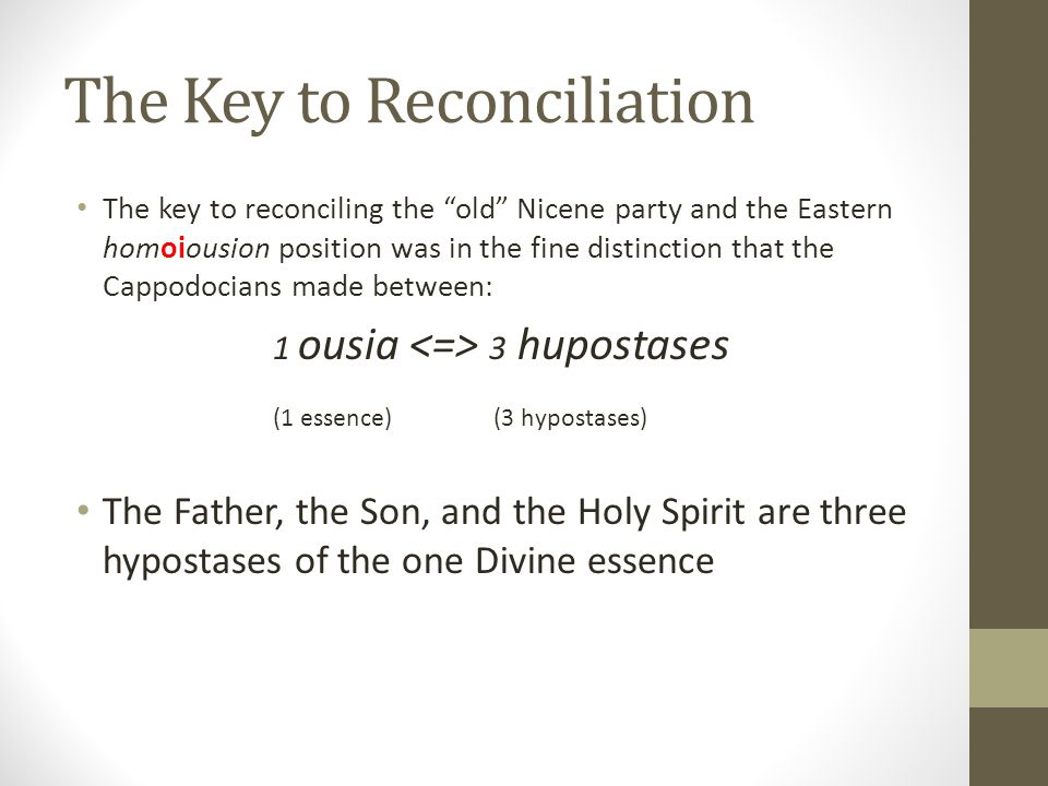 The Key to Reconciliation