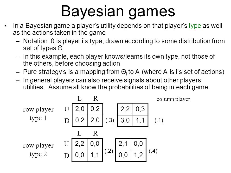 Bayesian games L R row player type 1 U D L R U row player type 2 D