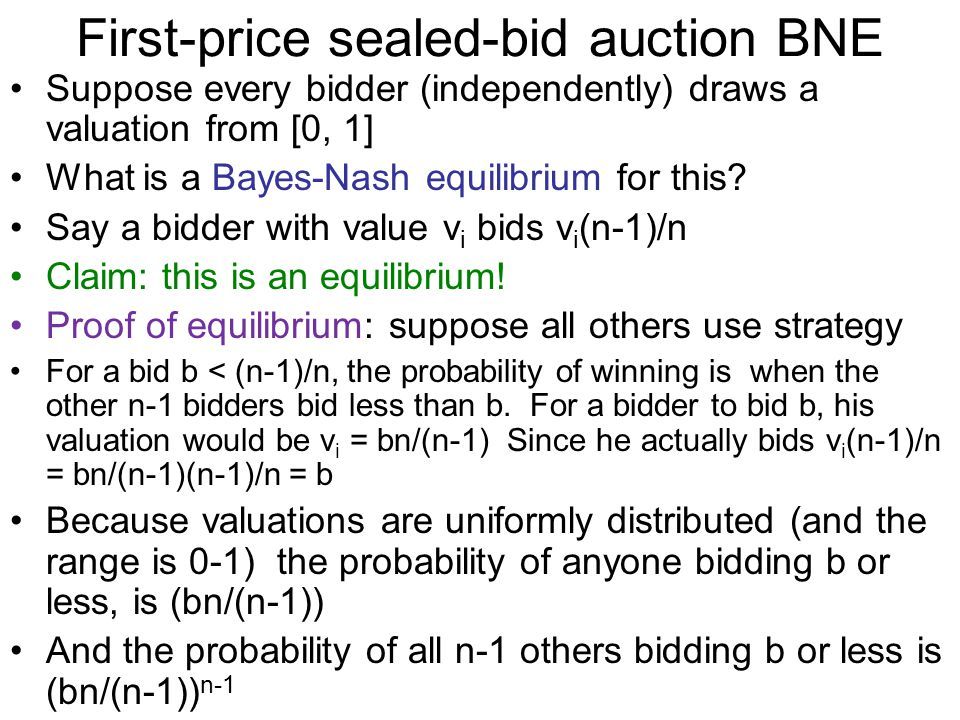 First-price sealed-bid auction BNE