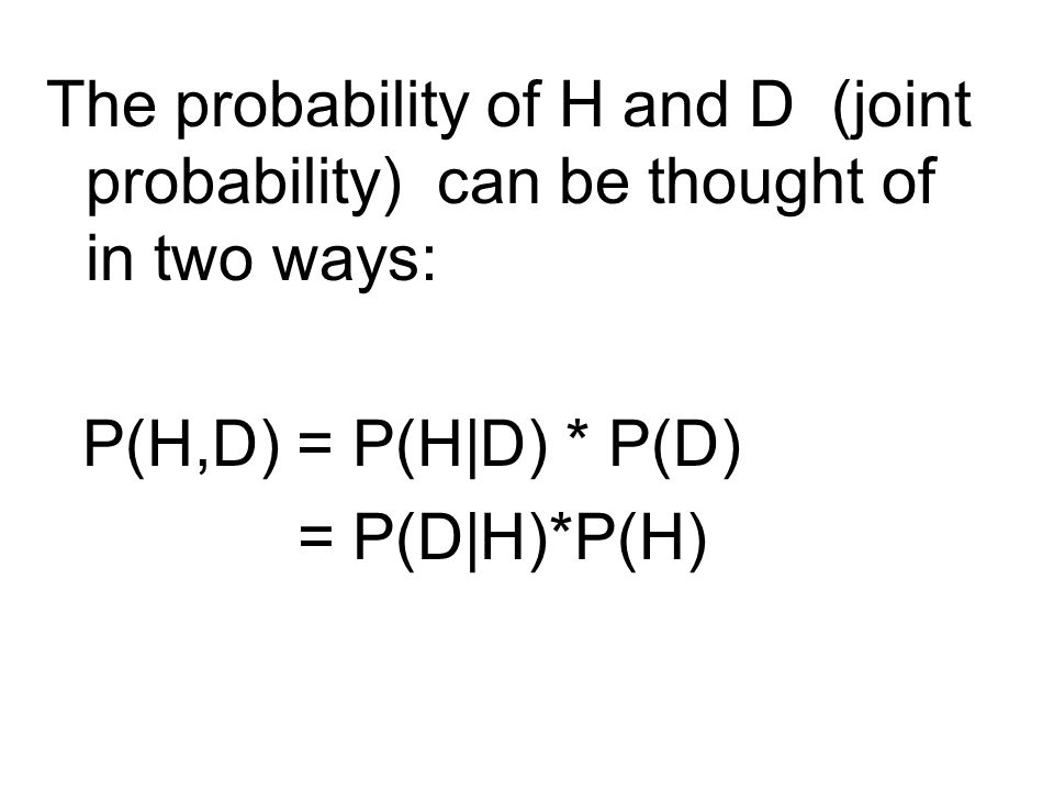 The probability of H and D (joint probability) can be thought of in two ways: