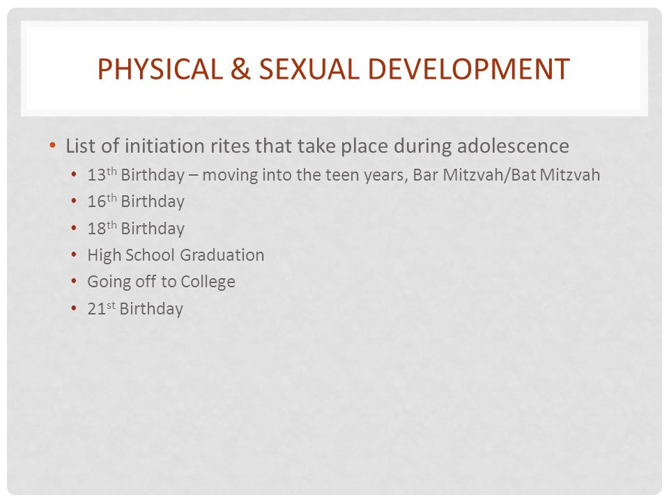 Physical & Sexual Development