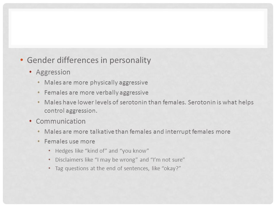 Gender differences in personality