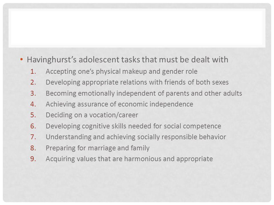 Havinghurst's adolescent tasks that must be dealt with