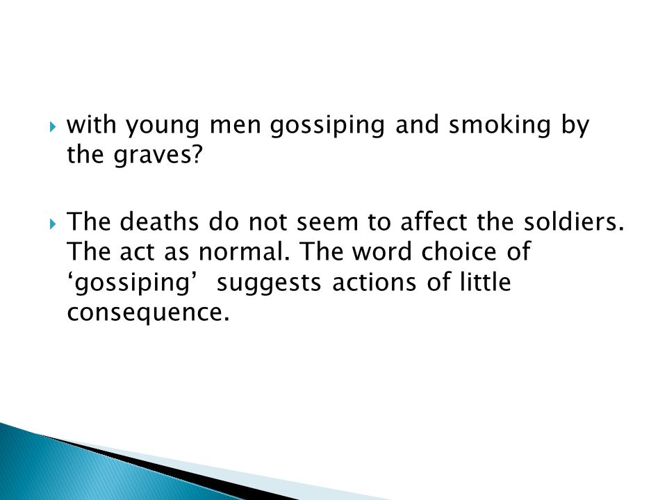 with young men gossiping and smoking by the graves