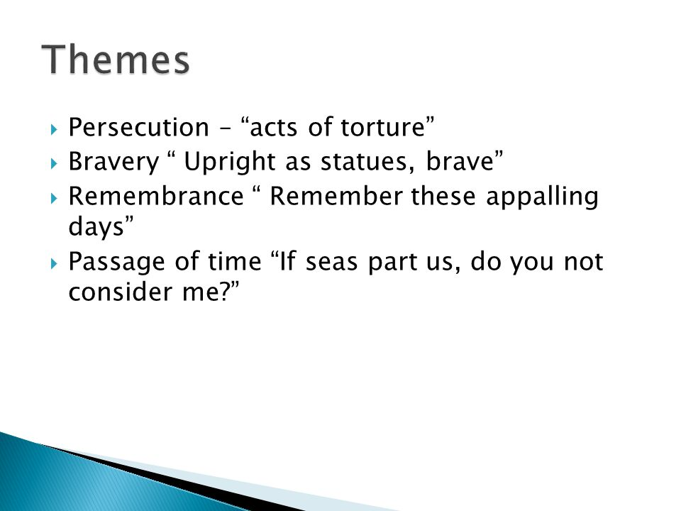 Themes Persecution – acts of torture