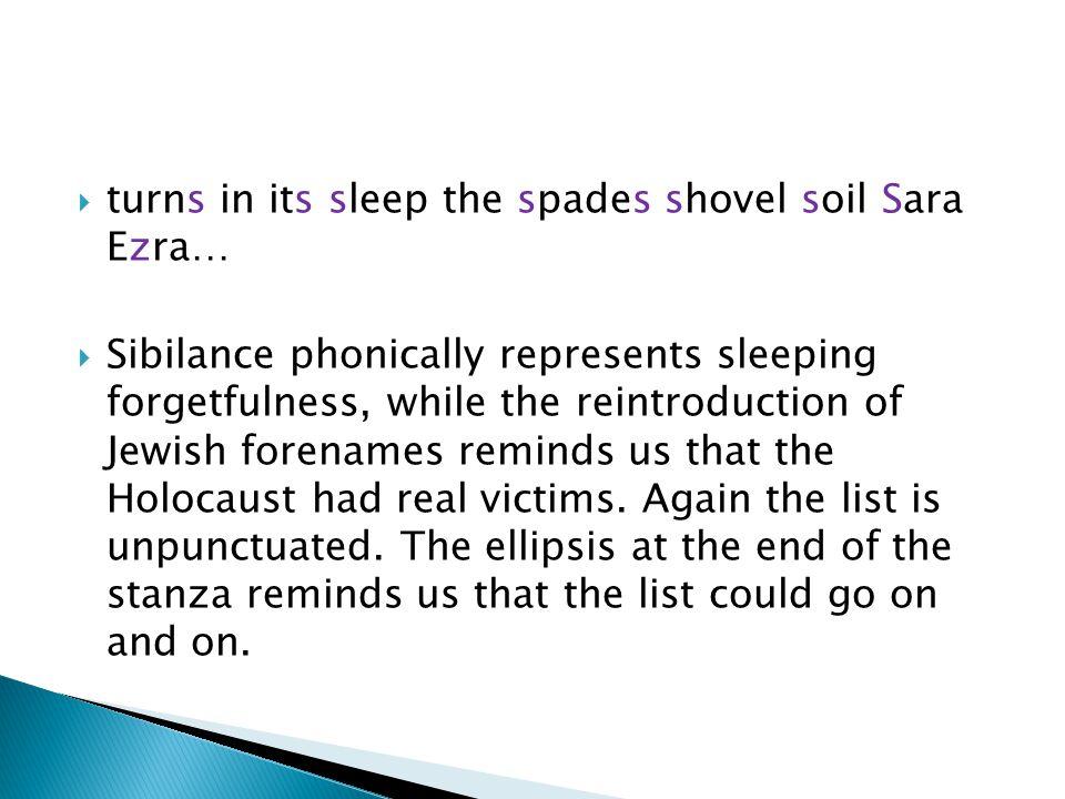 turns in its sleep the spades shovel soil Sara Ezra…