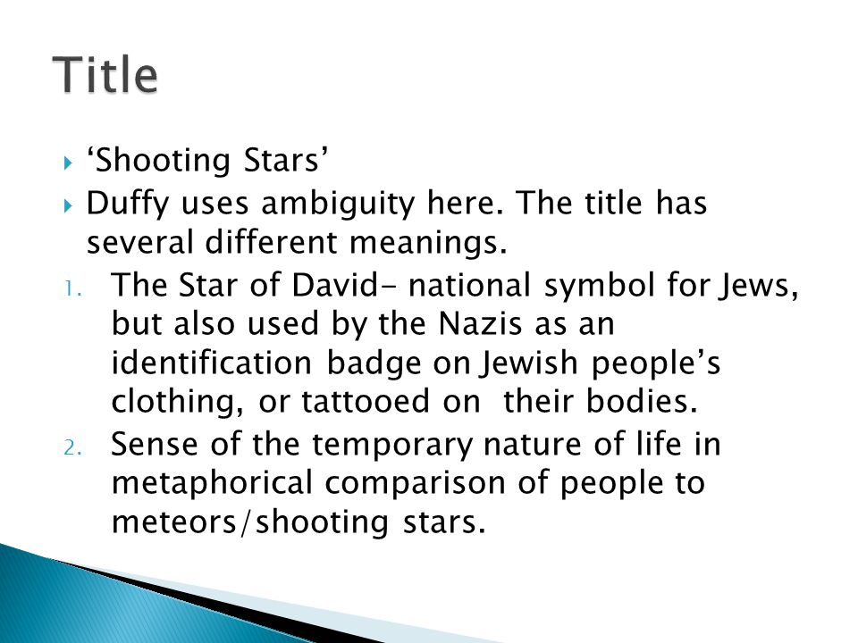 Title 'Shooting Stars'