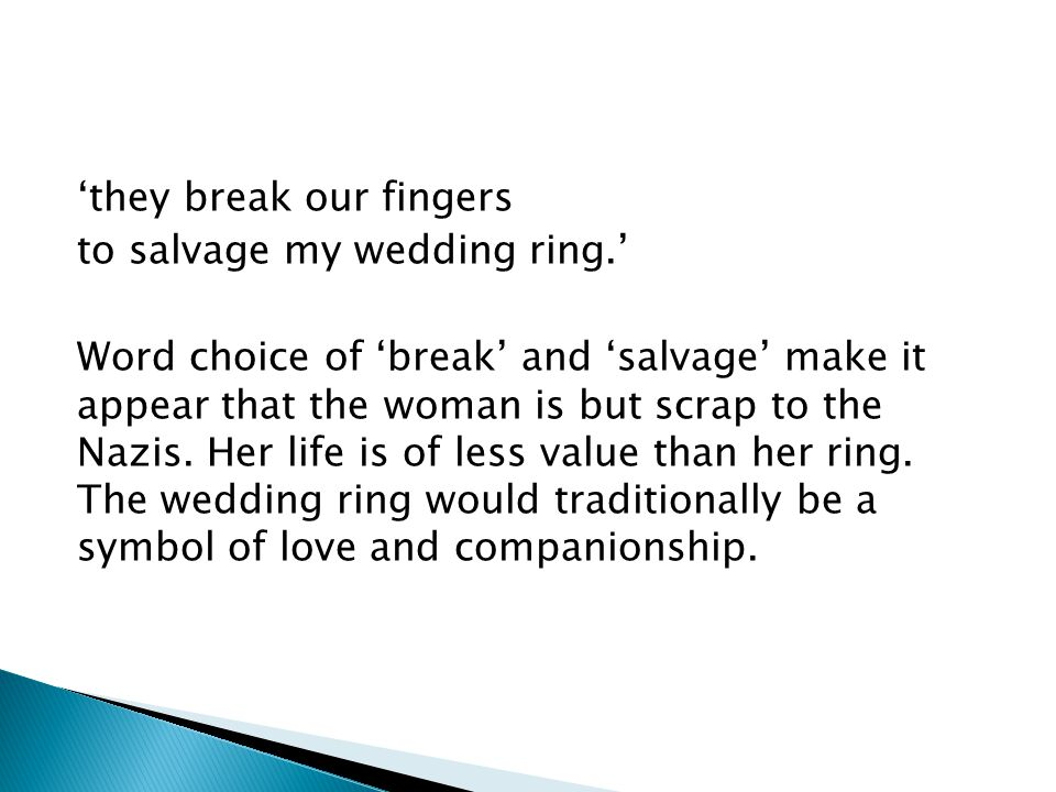 'they break our fingers to salvage my wedding ring