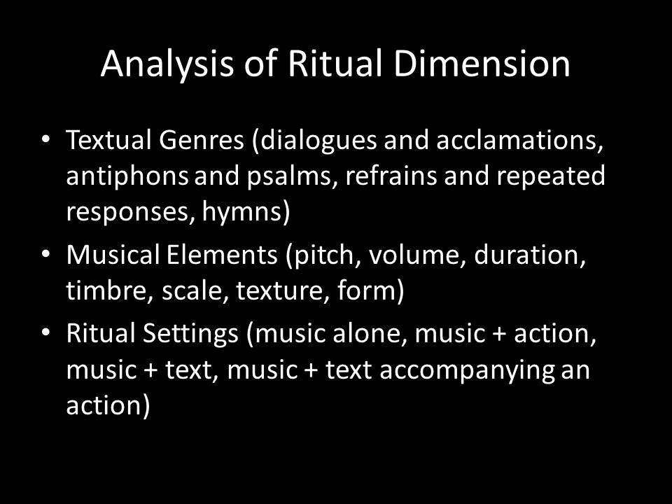 Analysis of Ritual Dimension