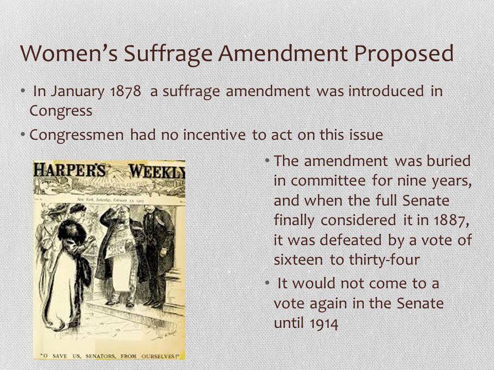 Women's Suffrage Amendment Proposed