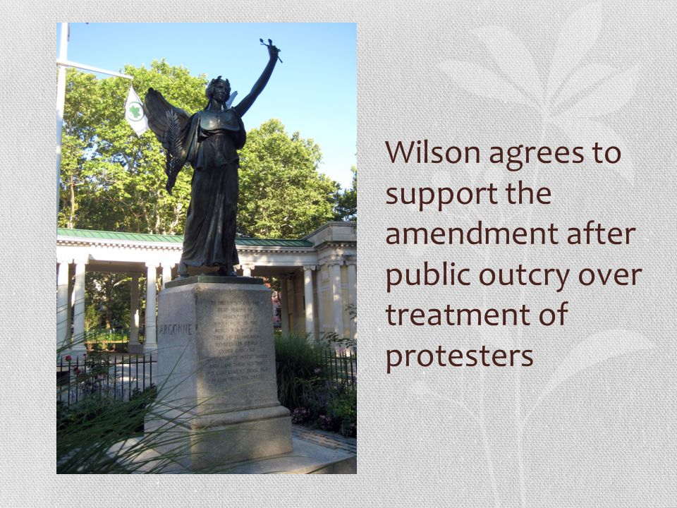 Wilson agrees to support the amendment after public outcry over treatment of protesters