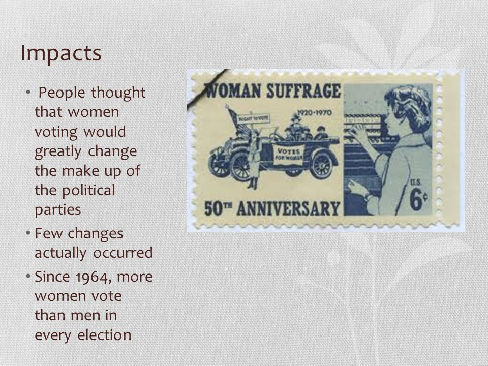 Impacts People thought that women voting would greatly change the make up of the political parties.