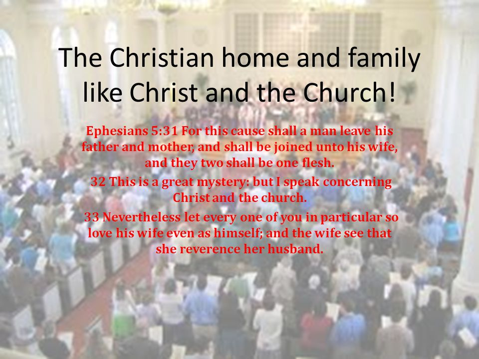The Christian home and family like Christ and the Church!