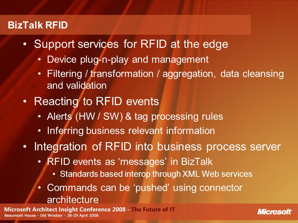 Support services for RFID at the edge