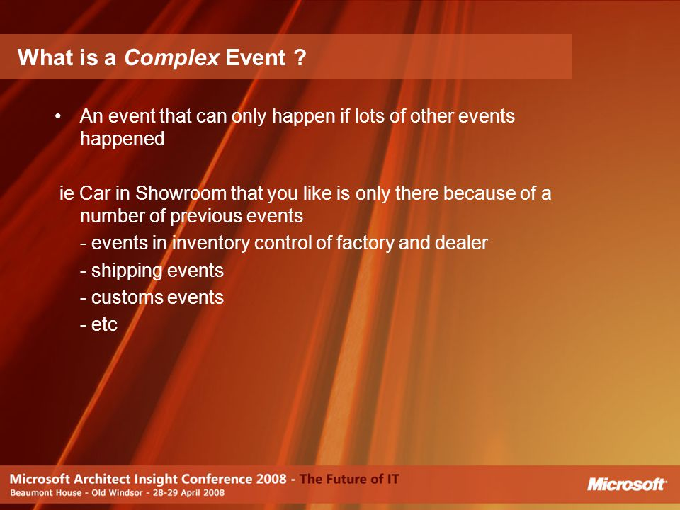 What is a Complex Event An event that can only happen if lots of other events happened.
