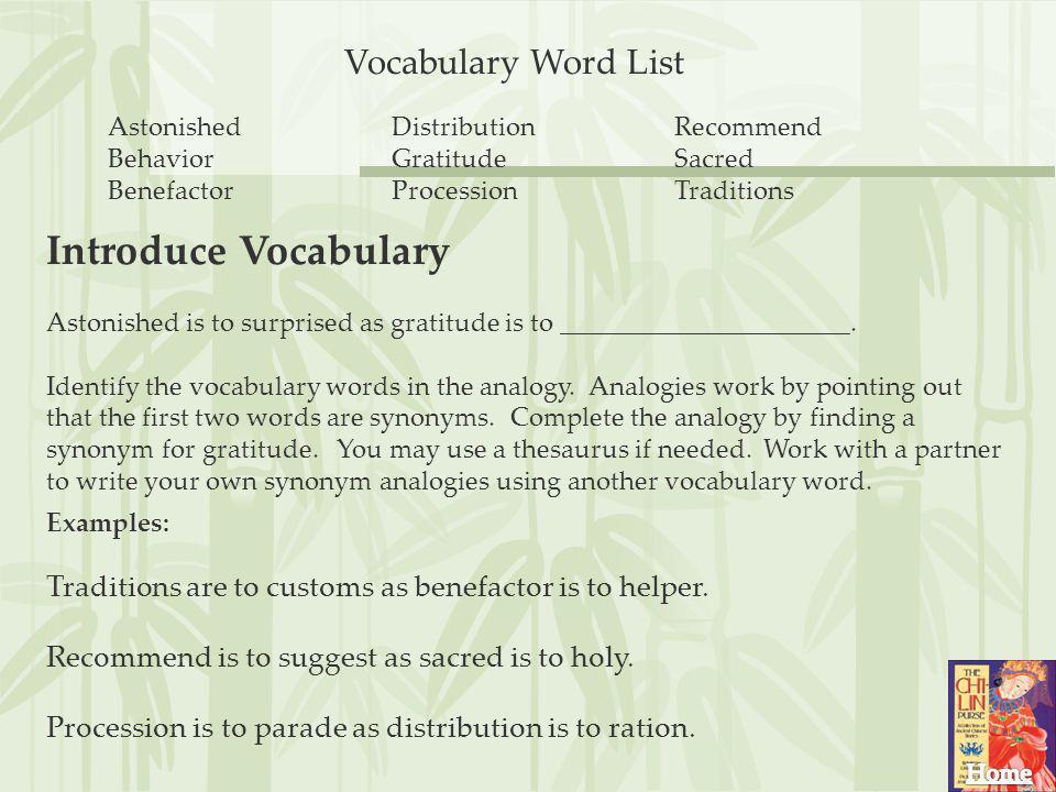Introduce Vocabulary Vocabulary Word List