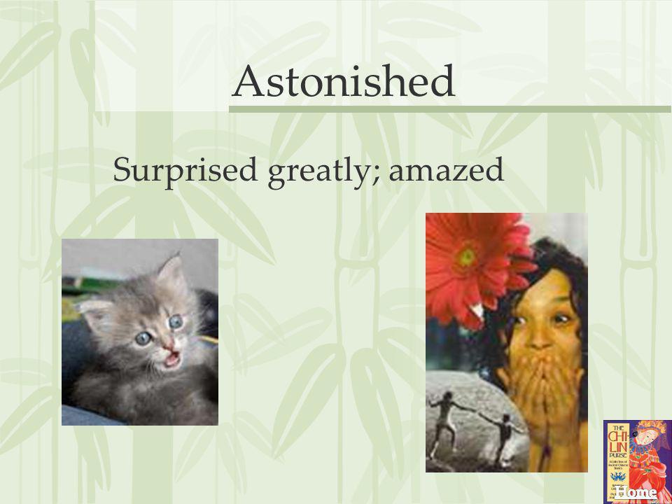 Astonished Surprised greatly; amazed