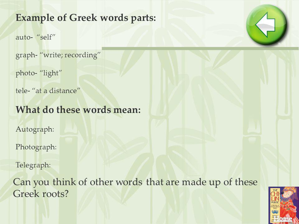 Example of Greek words parts: