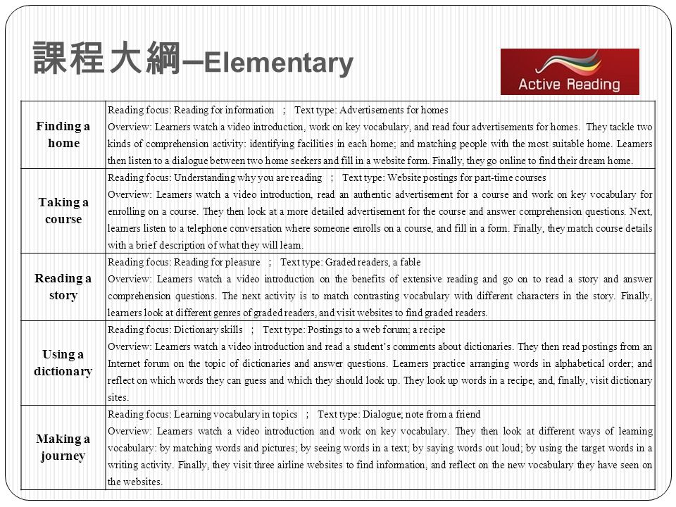 課程大綱–Elementary Finding a home Taking a course Reading a story